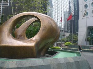 the oval sculpture in Hong Kong, Henry Moore